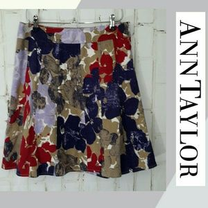 Ann Taylor A-Line Floral Lined Side Zip Skirt